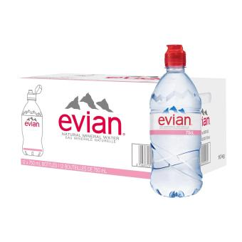 Evian Natural Mineral Water Sportcap - 12 x 750ML