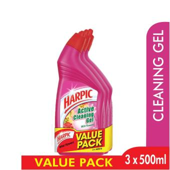 Harpic Wild Flowers Active Cleaning Gel Triple Pack - 3 X 500 ML