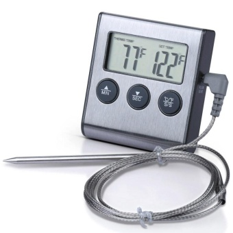 Digital BBQ Oven Meat Thermometer/Food Cooking Kitchen Timer - intl