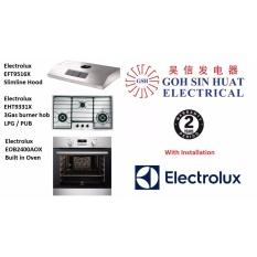 electrolux 90cm oven. Electrolux 90cm Stainless Steel Hob EHT9331XCG Slimline Hood EFT9516X 60cm Built-In Oven EOB2400AOX Bundle Promotion O