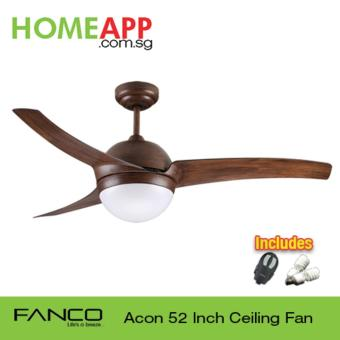 Fanco Acon 52 Ceiling Fan with Light and Remote Wood