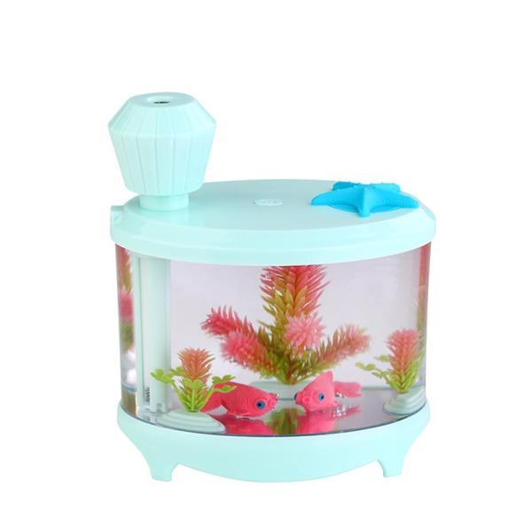 Leegoal 460ml USB Portable Small Fish Tank Cool Mist Aroma Humidifier Air Purifier with 7 Cloor LED Lights and Timer for Office Home Kids Bedroom(Green) - intl Singapore