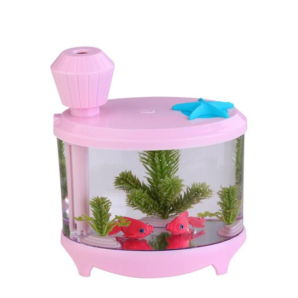 Leegoal 460ml USB Portable Small Fish Tank Cool Mist Aroma Humidifier Air Purifier with 7 Cloor LED Lights and Timer for Office Home Kids Bedroom(Pink) - intl Singapore