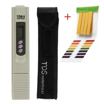 leegoal PH Test Papers 80pcs And TDS Tester Meter ,PH Test Strips Handheld Water Quality Tester Pen TDS Temperature Meter,with Leather Case,ABS,6x1.2x0.8 In