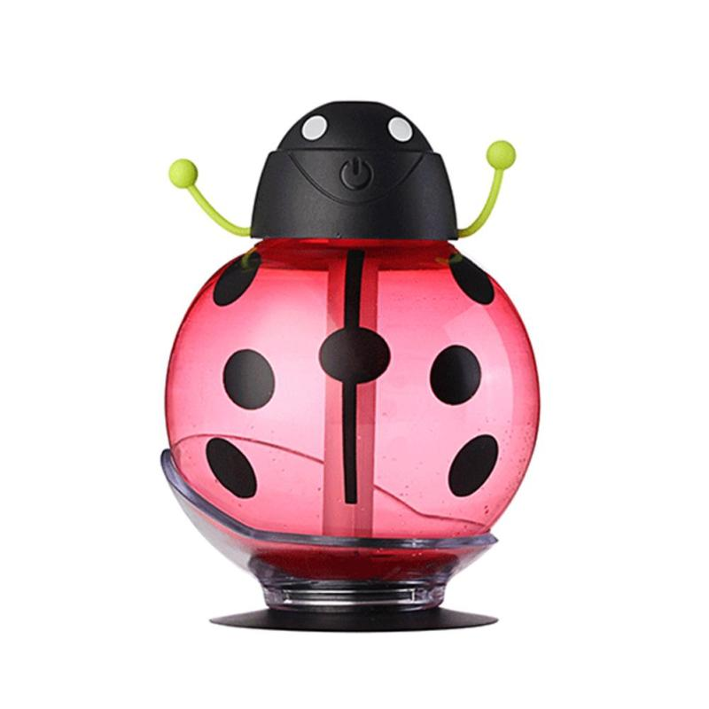 Mini USB Humidifier Cute Beetle Night Light Home Office Air Diffuser (Red) - intl Singapore