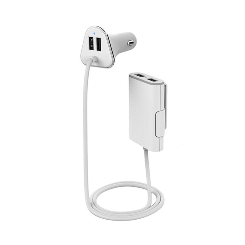 nonvoful High Capacity 1.8M Cable 4 USB Ports 9.6A Hub Fireproofing Car USB Charger Car Auto Charging Adapter - intl Singapore