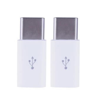 2pcs Type-C Male to Micro USB Female Converter Type-CAdapter(White) - intl