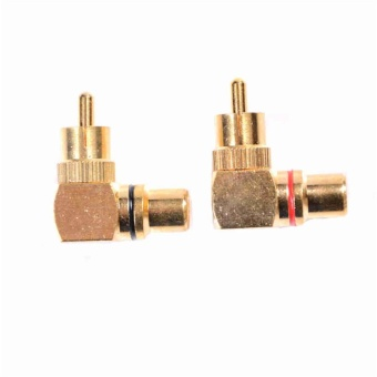 2pcs/Set 90 Degree Gold Plated Right Angle Rca Adaptor Male To Female Plug Connectors - intl