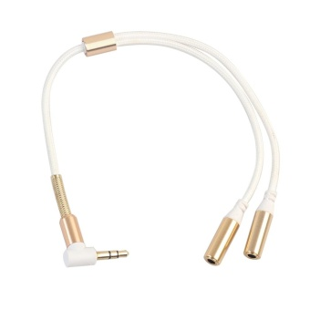 3.5mm 1 Male to 2 Female Y Splitter Stereo Extension AudioCable(White) - intl