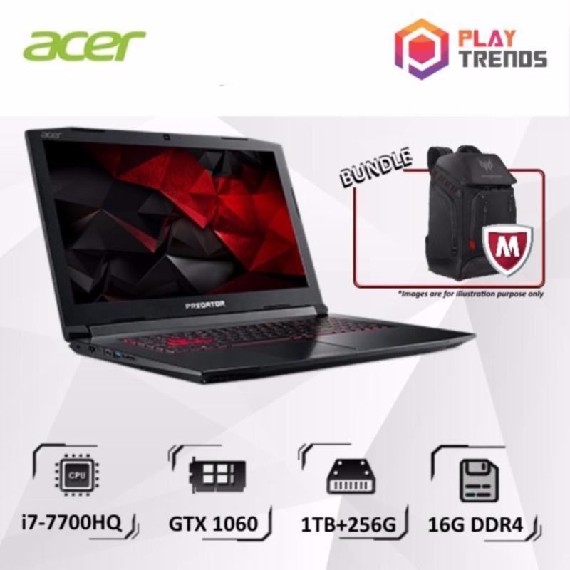 MARCH PROMO!!! Acer Predator Helios 300 (G3-572-7570) - 15.6/i7-7700HQ/16GB DDR4/256GB SSD+1TB HDD/Nvidia GTX1060/W10