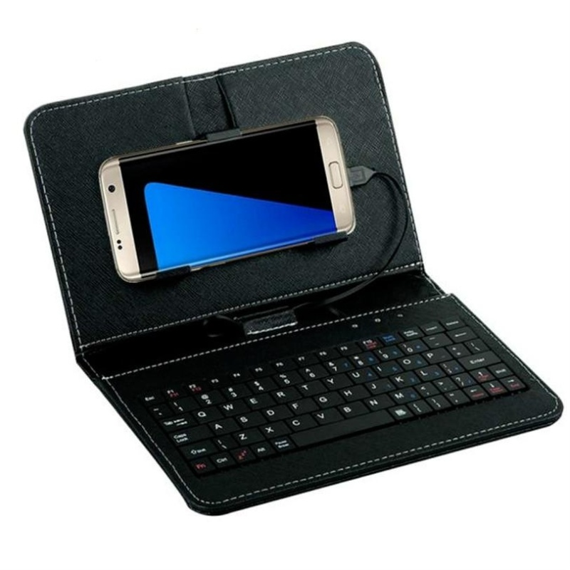 Kasdgaio General Mini Wired Leather Keyboard Flip Holster Case For 4.2-6.8 Andriod Mobile Phone Singapore