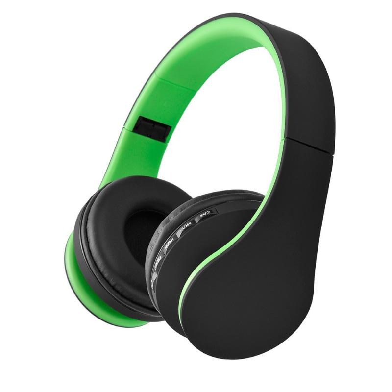 niceEshop Wireless Bluetooth Stereo Headphone Foldable EDR Earphone Mic MP3 FM Headset For Smart Phones Tablet(Green+Black) Singapore