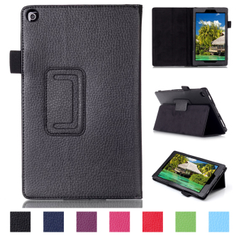 PU Leather Support Dormancy Case Cover For Amazon new fire HD82015(Black)
