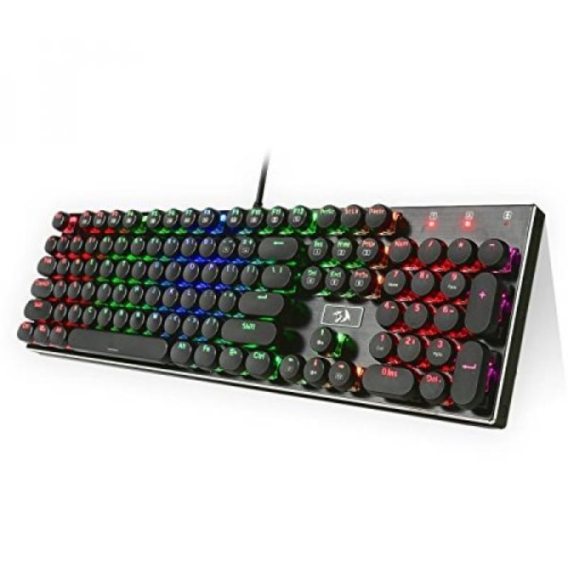 Redragon K556-RK RGB LED Backlit Mechanical Gaming Keyboard with Brown Switches,104 Anti-ghosting Standard Keys Retro Vintage USB Typewriter Inspired Singapore