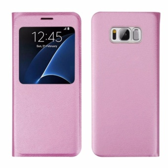 Smart View Window Case Flip PU Leather Cover for Samsung Galaxy S8 (Pink) - intl