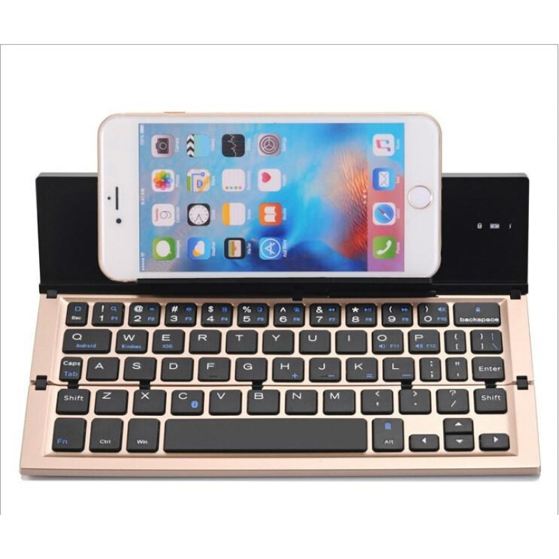 System Universal Folding Keyboard Aluminum Alloy Bluetooth Keyboard Mobile Tablet PC - intl Singapore