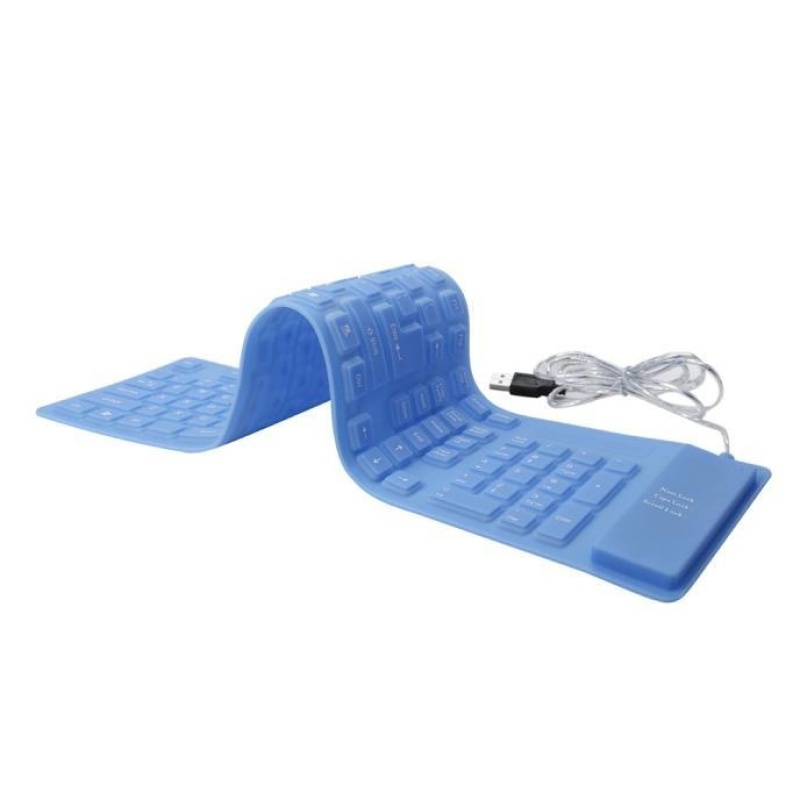 USB roll-up Flexible Silicone Keyboard For PC Laptop Fashionable Blue - intl Singapore