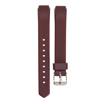 VAKIND Luxury Silicone Strap Buckle for Fitbit Alta Twill Strap(Brown) - Intl