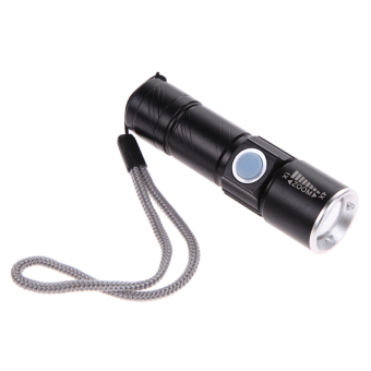 2000LM Light Tactical Rechargeable Mini USB Flashlight Torch black