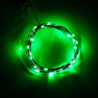 2M 20 LED Bulbs Green Soft Wire LED String Light Outdoor Waterproof Mini Rope Lights Wedding ...