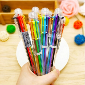 2PCS New 6 In 1 Multi Colour Students Retractable Ballpoint PenCreative Stationery U255