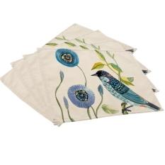 ... 360DSC 4Pcs Soft Cotton Linen Tableware Mat Table Runner Hand Painted Bird Printied Tablecloth Desk Cover
