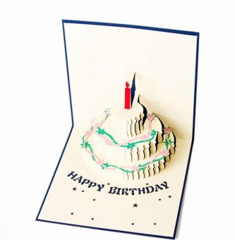 3D color cake three - dimensional birthday card blessing card bluecover - intl