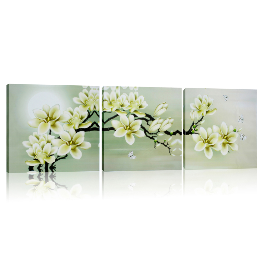 2pcs 40x40cm 3 panels beautiful flowers printed on canvas. Black Bedroom Furniture Sets. Home Design Ideas
