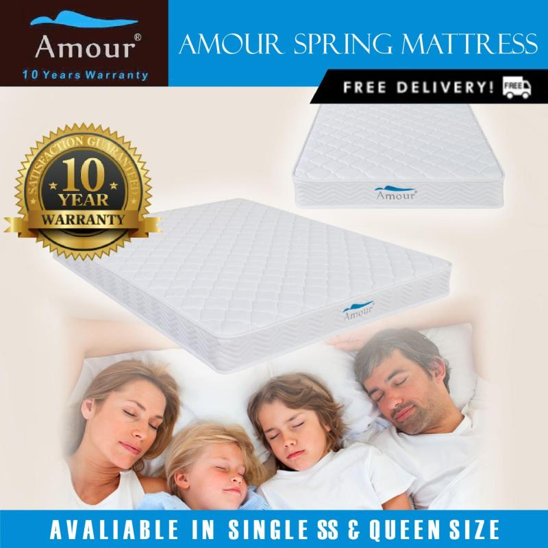 Amour® Single/Super Single/Queen Size Spring Mattress 10 Years Warranty Free delivery Best In Lazada