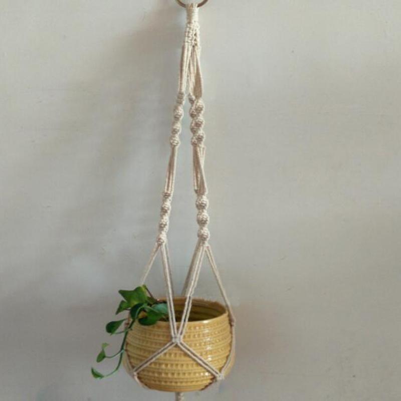 Braided Ropes Hanging Basket Bag Flowers Pot Holder Plants Hanger Garden Gadget - intl