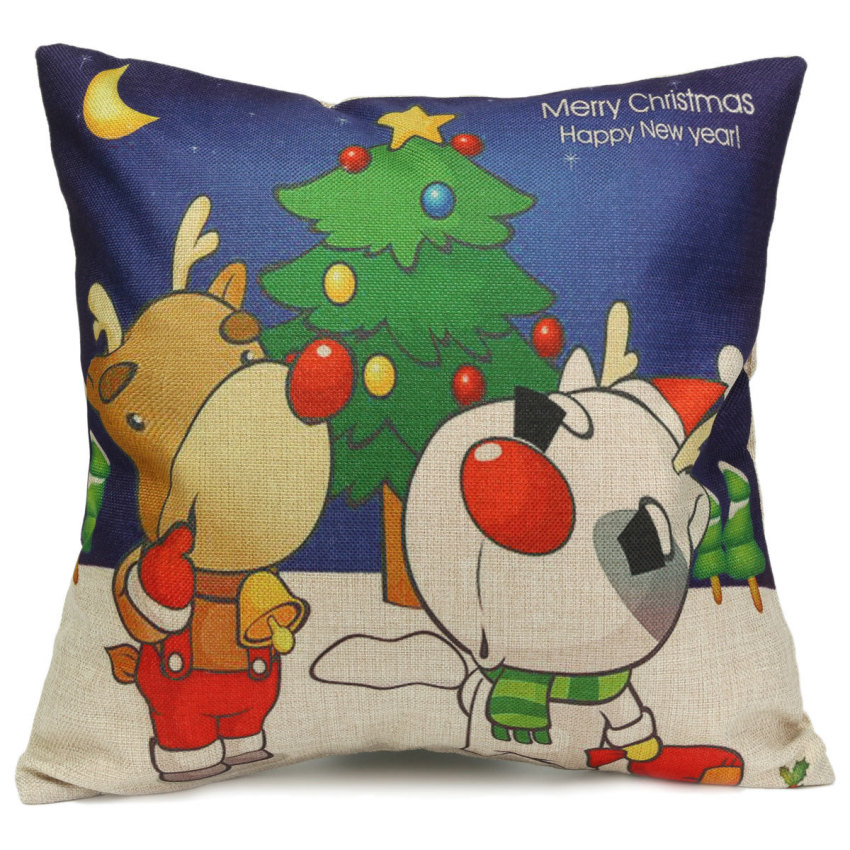 Christmas Decorative Pillow Cases : Christmas Cotton Linen Throw Pillow Case Xmas Cushion Cover Home Car Decorative #01 - Intl ...