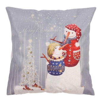 Creative Christmas Snowman Pattern Cotton Pillow Cover Pillow Cushion - intl