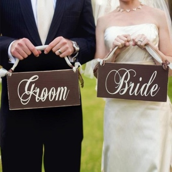 Creative Wooden Groom & Bride Wedding Chair Banner Set Chair Sign Vintage Wedding Party Decoration Shooting Props - intl