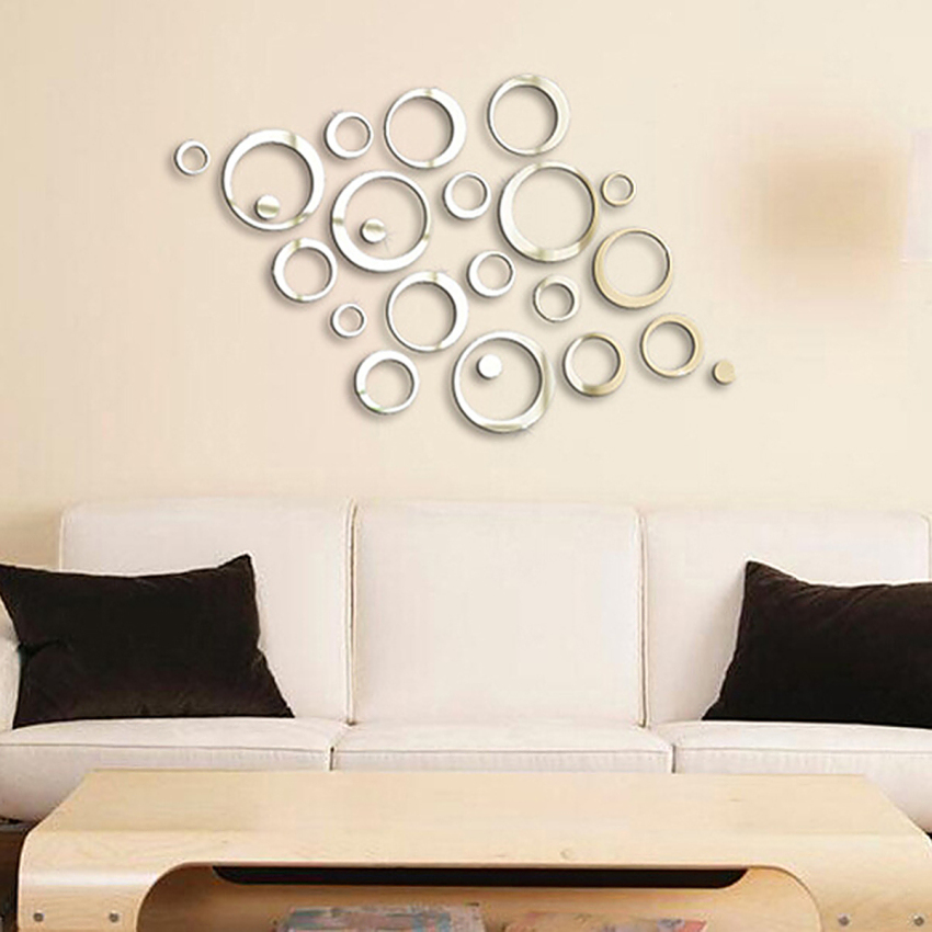 3d wall sticker acrylic clock flower design mirror effect Crystal home decor