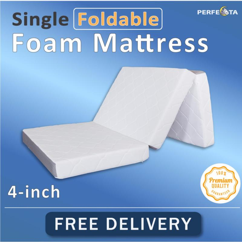 Single Foldable Foam Mattress * 10cm Thickness * Removable Cover * Knitted Fabric * Fast Delivery