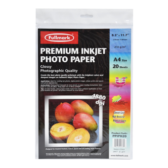 Fullmark Premium Inkjet Photo Paper, A4 size, 21cm X 29.7cm each (1Pack, 20 sheets per pack) - compatible with HP, Canon, Epson andall leading inkjet printers