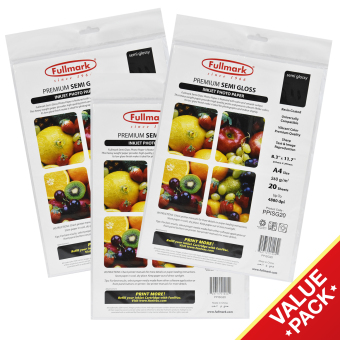 Fullmark Premium Semi Gloss Inkjet Photo Paper Value Set, A4 size, 21cm X 29.7cm each (3 Packs, 20 sheets per pack) - compatible with all leading inkjet printers