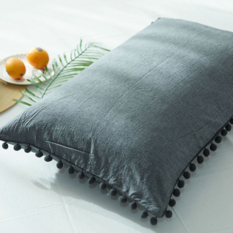 Korean style washed cotton solid color hair ball pillow cover pillowcase