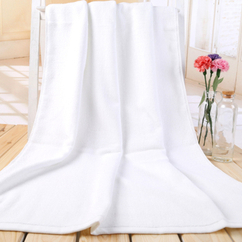 Logo70x140 cotton soft absorbent towel white bath towel