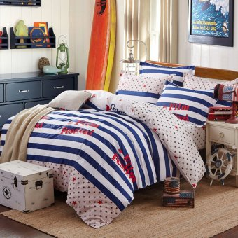 Lucky textile bedding cotton twill printed bed sheets three piece single bed student bed little stars