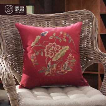 Luo Ling New Chinese sofa pillow dragon wedding festive cushionmarriage room decorative lumbar pillow bed pillow back