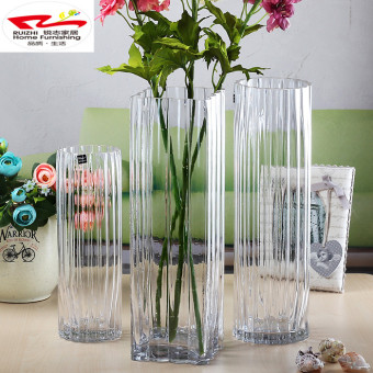 New special transparent crystal glass vase Lily lucky bamboosimulation flower square mouth round mouth bars Cylinder