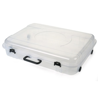 OJ transparent flat bed storage box box under the bed clothes pulley toy box portable storage box - intl
