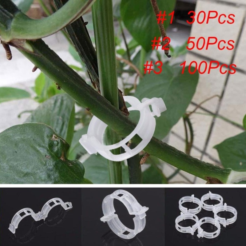 Practical White Tomato Clips Connects Plants Supports Vines Trellis Cages Fixed - intl