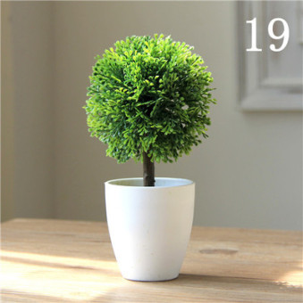 Simulation Bonsai plants small potted mini fake plants ornaments plastic silk flower Snnei Home Decorative