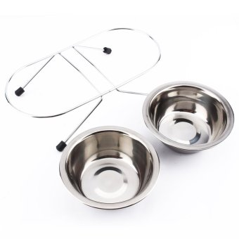Stainless Steel Double Bowls Food Water Feeder for Dog Cat Pet