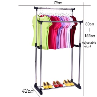 Stainless Steel Simple Clothes Hanging Rod - Double Pole (height Adjustable) - intl