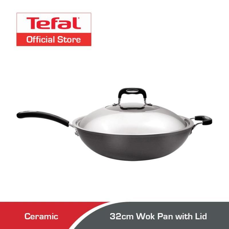 Tefal Ceramic-Coated Hard Anodised Wok Pan 32cm w/Lid C76994 Singapore