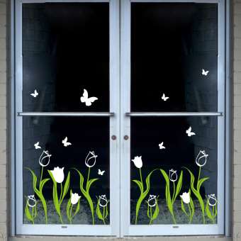 Tulip flowers romantic decoration wall stickers storefront shop window glass decals baseboard moldings