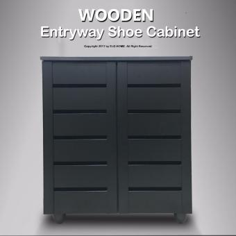 WOODEN Entryway Shoe Storage Cabinet (Black)(FREE Install & Delivery)